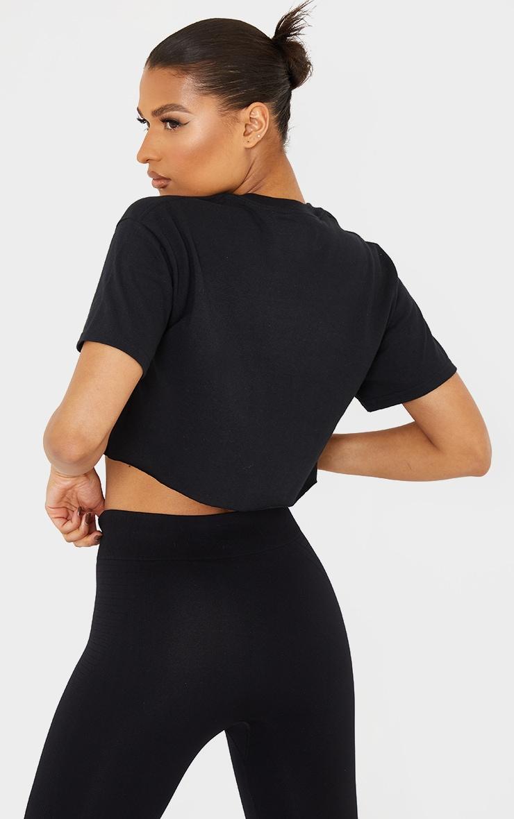 PRETTYLITTLETHING Sport Black Crop T-shirt 2