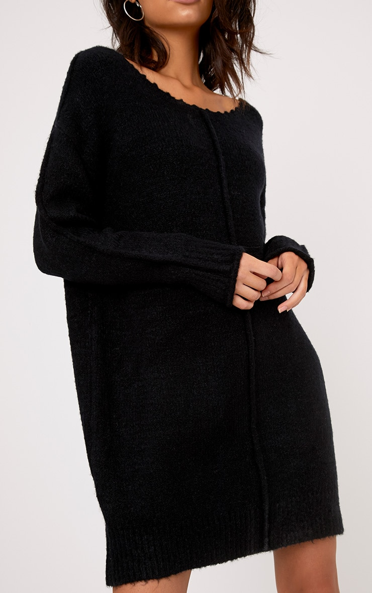Selah Black Oversized Seam Detail Brushed Jumper Dress 5