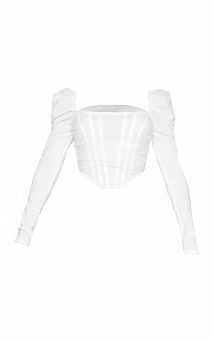 Shape White Mesh Ruched Long Sleeve Corset 5