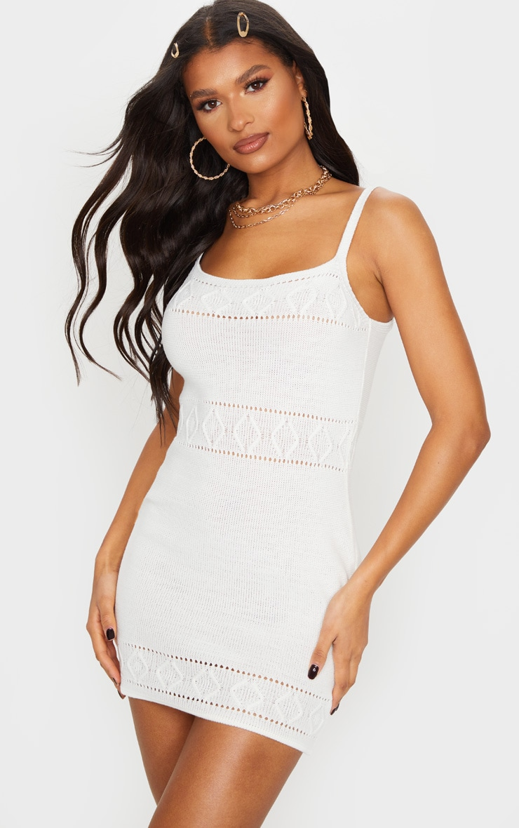 White Textured Knitted Strappy Mini Dress 1