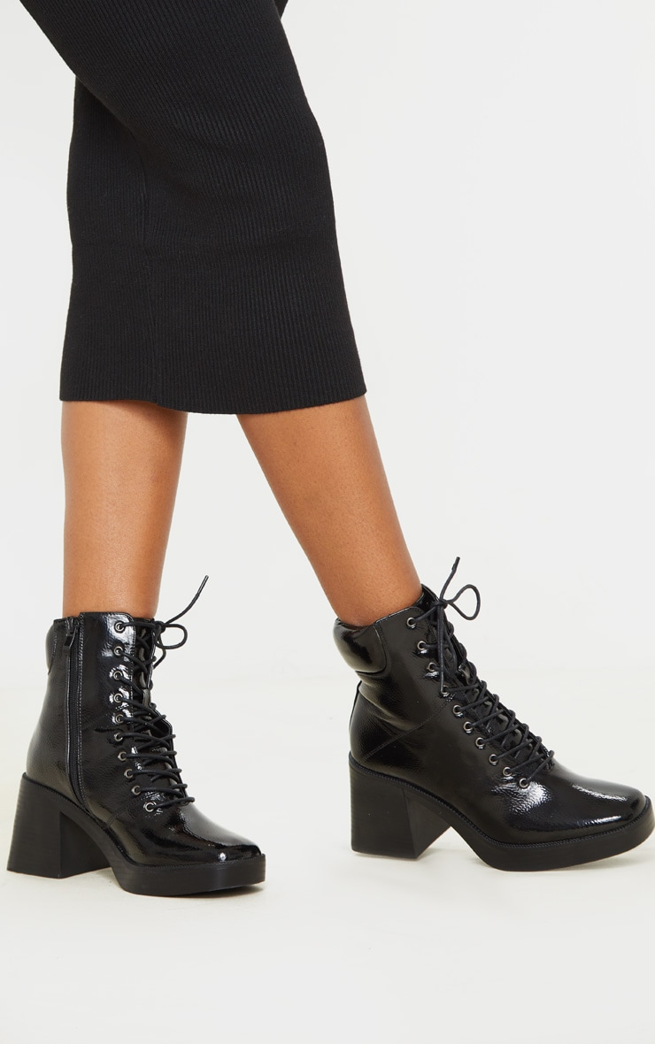 Black Square Toe Chunky Lace Up Ankle Boot 2