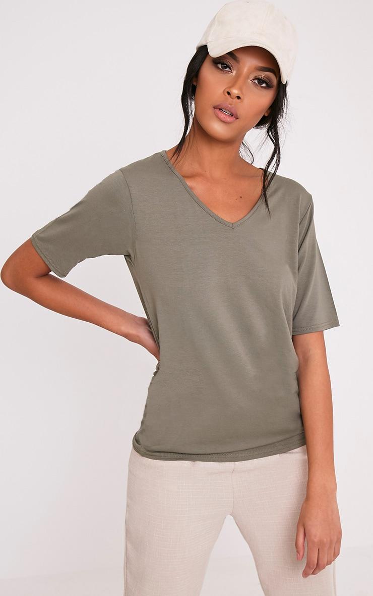 Basic Khaki V Neck Loose T Shirt 1
