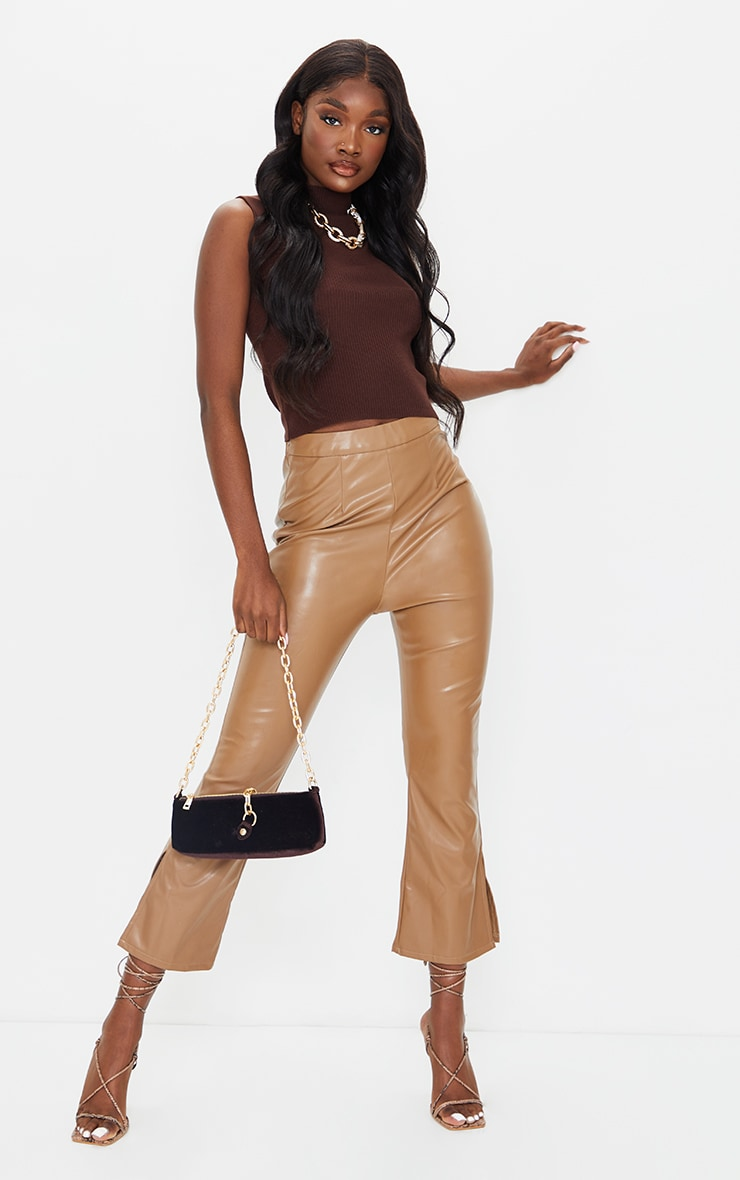 Tall Tan Faux Leather Cropped Split Hem Kick Flare 1