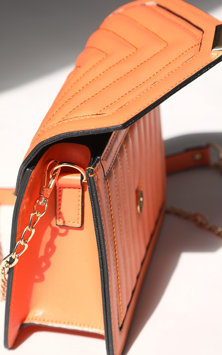 Orange Vertical Quilted Cross Body Bag 4