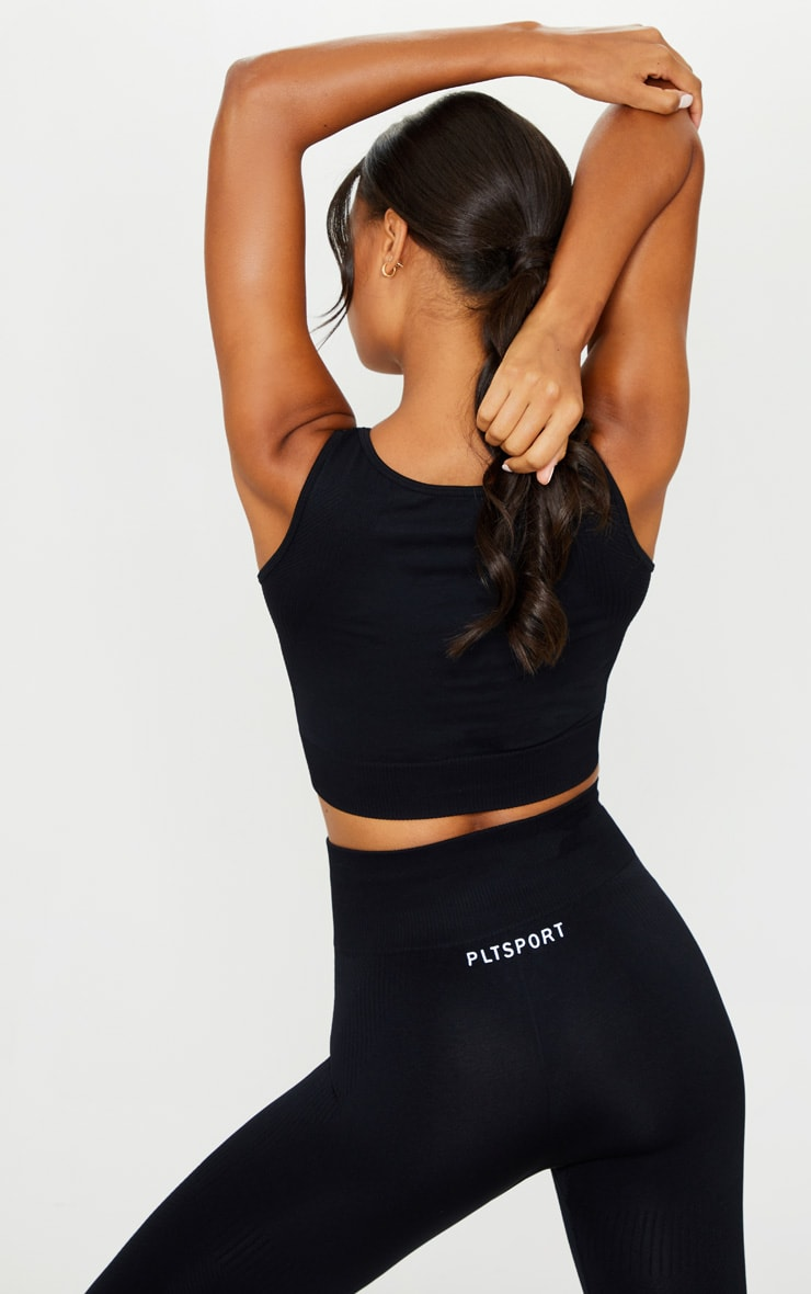 PRETTYLITTLETHING Black Textured Rib Seamless High Neck Cropped Top 2