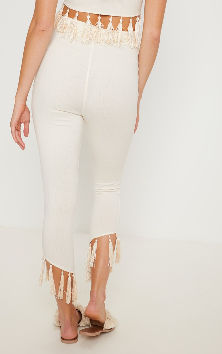 Cream Rib Tassel Trim Legging 4