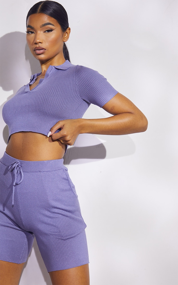 Steel Blue Premium Ribbed Knitted Collar Detail Short Set 4