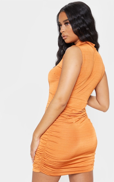 Burnt Orange Metallic Slinky Ruched Cut Out Bodycon Dress
