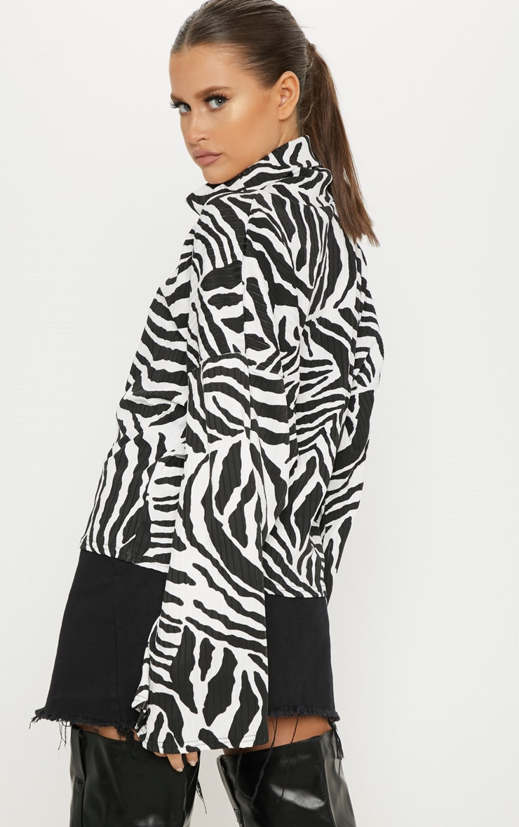 Monochrome Zebra Print Roll Neck Oversized Sweater 2