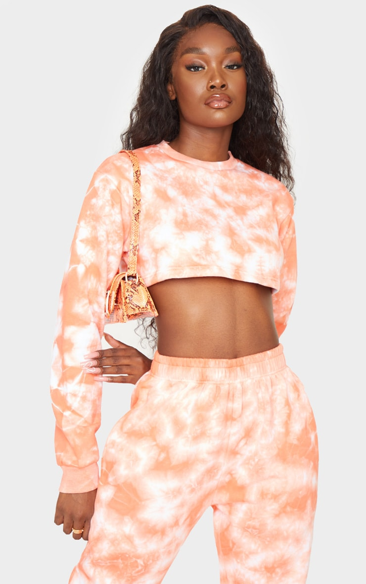 Tall Orange Tie Dye Extreme Cropped Sweater 3