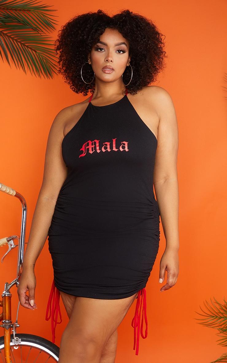 Plus Black Ruched Mala Bodycon Dress 1