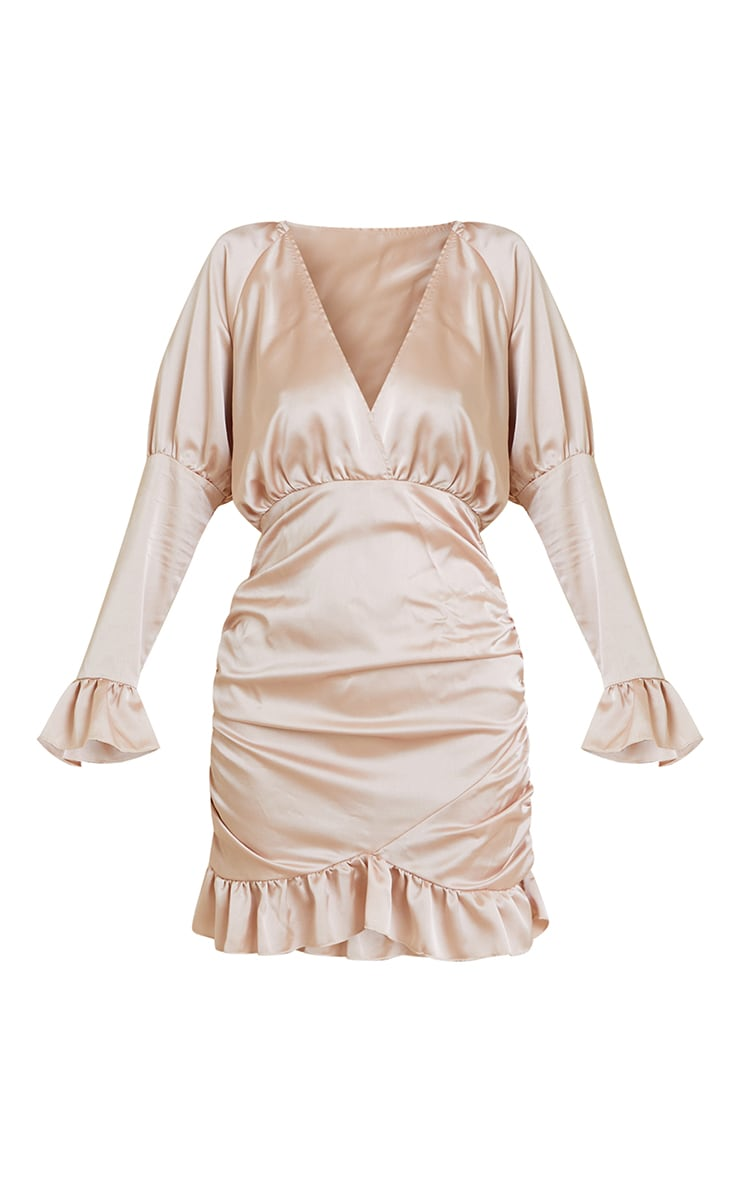Champagne Satin Plunge Frill Hem Ruched Bodycon Dress 5