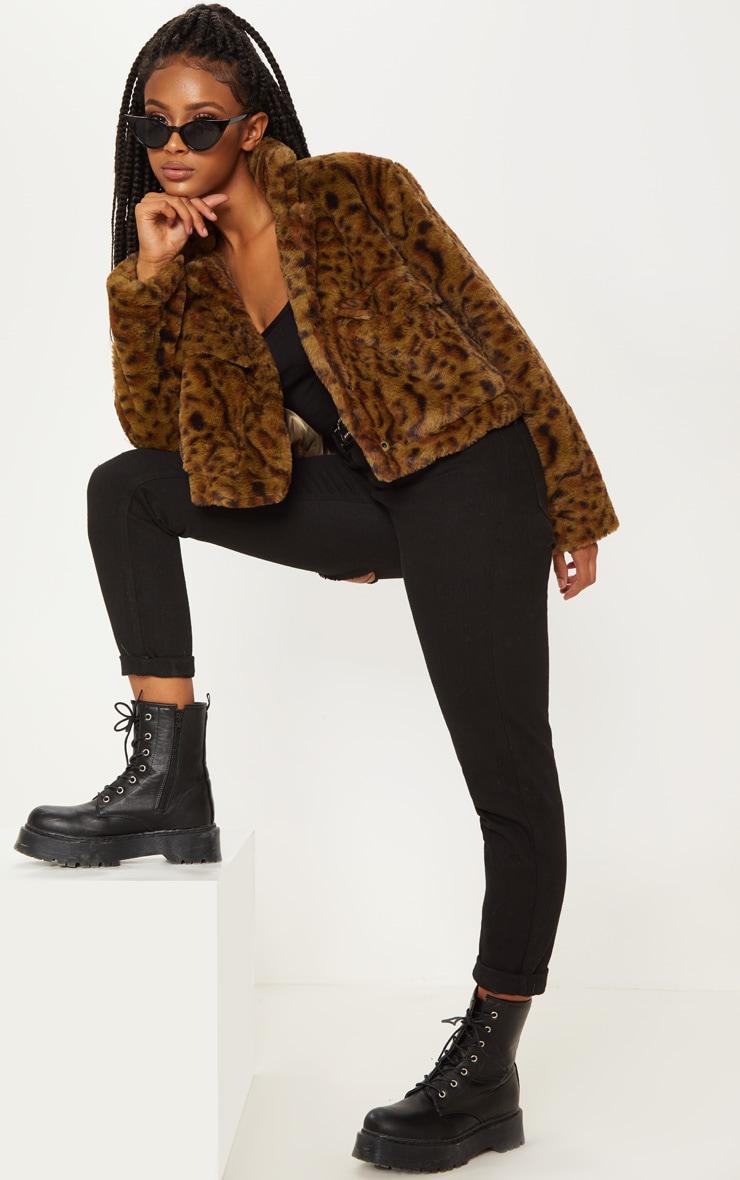 Khaki Leopard Faux Fur Trucker  1