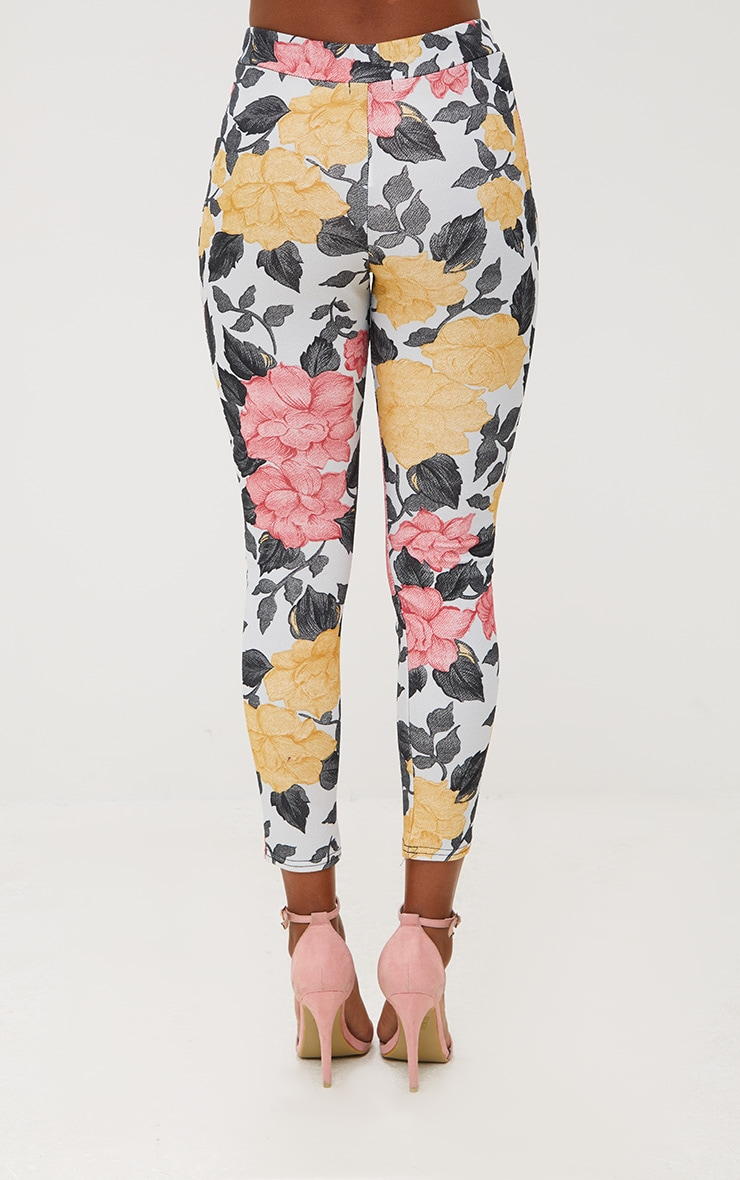 Grey Large Floral Skinny Trousers 4