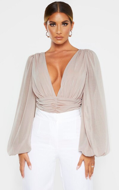 Nude Mesh Ruched Waistband Bodysuit