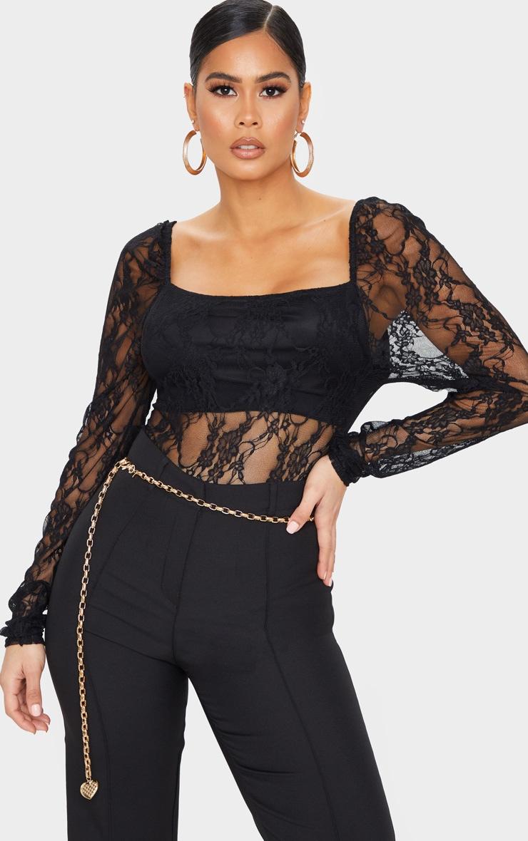 Black Lace Puff Sleeve Square Neck Bodysuit 1