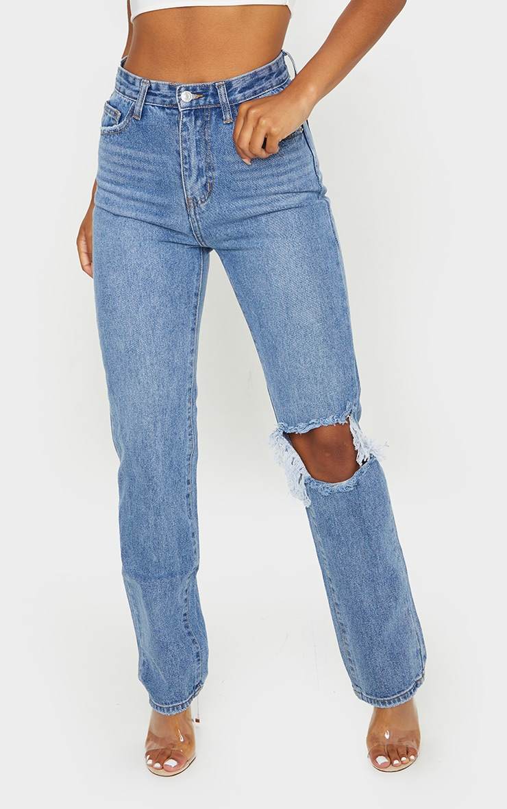 Light Blue Wash Open Knee Long Leg Straight Leg Jeans 2