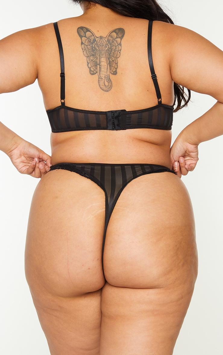 Plus Black Striped Lace High Leg Thong 2