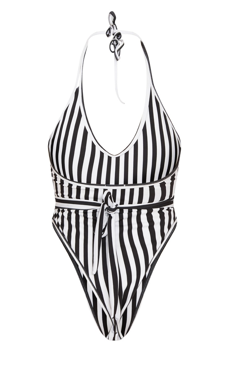 Black Mono Stripe Lion Belted Swimsuit 4