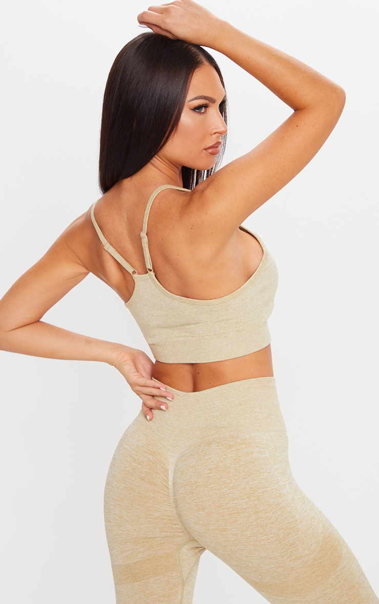 PRETTYLITTLETHING Olive Ruched Front Seamless Sports Bra 2