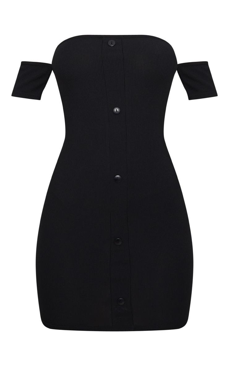 Black Ribbed Button Detail Bardot Bodycon Dress 3