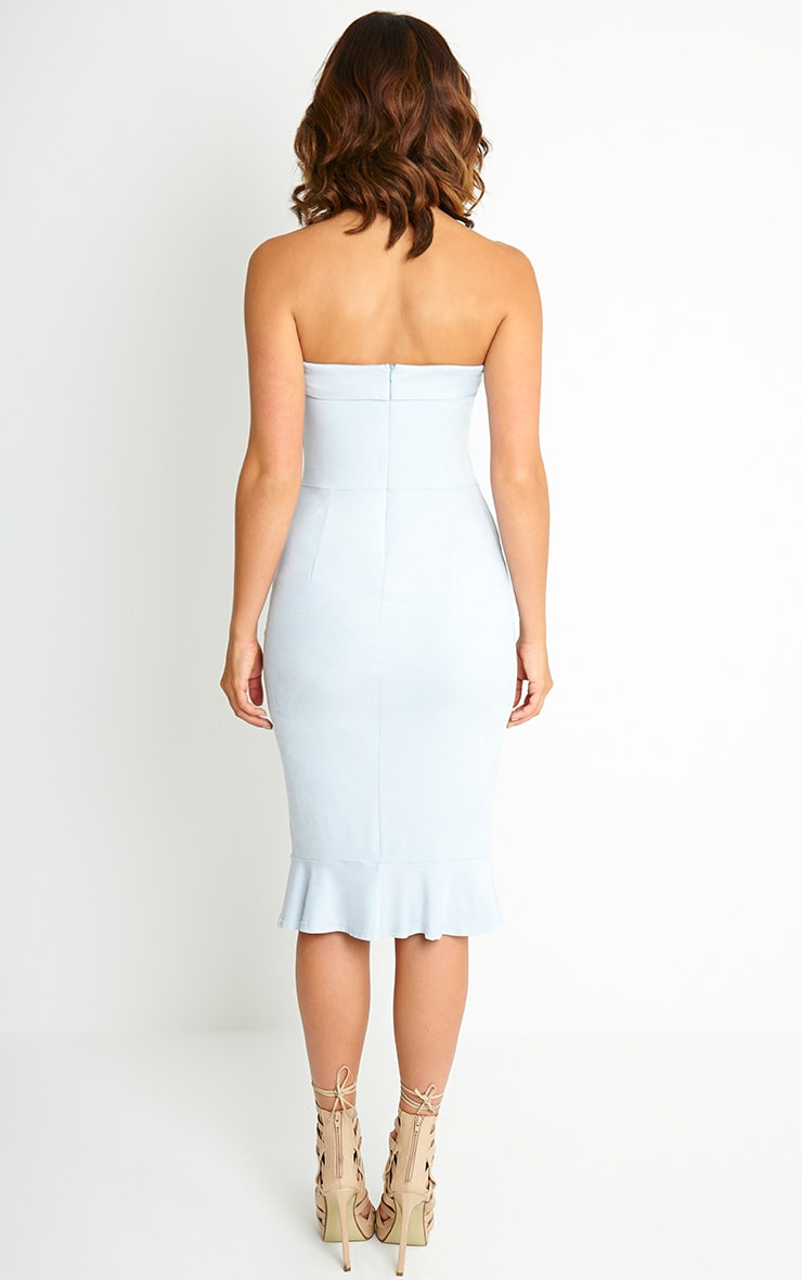 Lorena Powder Blue Suede Bandeau Midi Dress 2