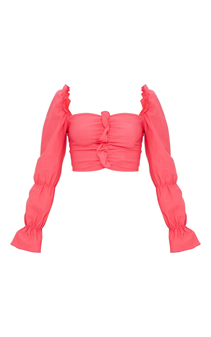 Hot Pink Woven Stretch Frill Ruched Front Long Sleeve Crop Top 5