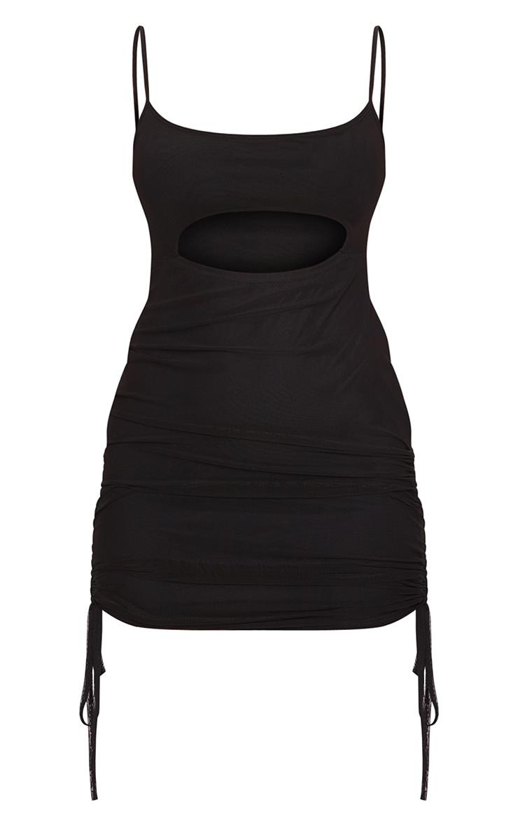 Black Mesh Cut Out Bodycon Dress 5