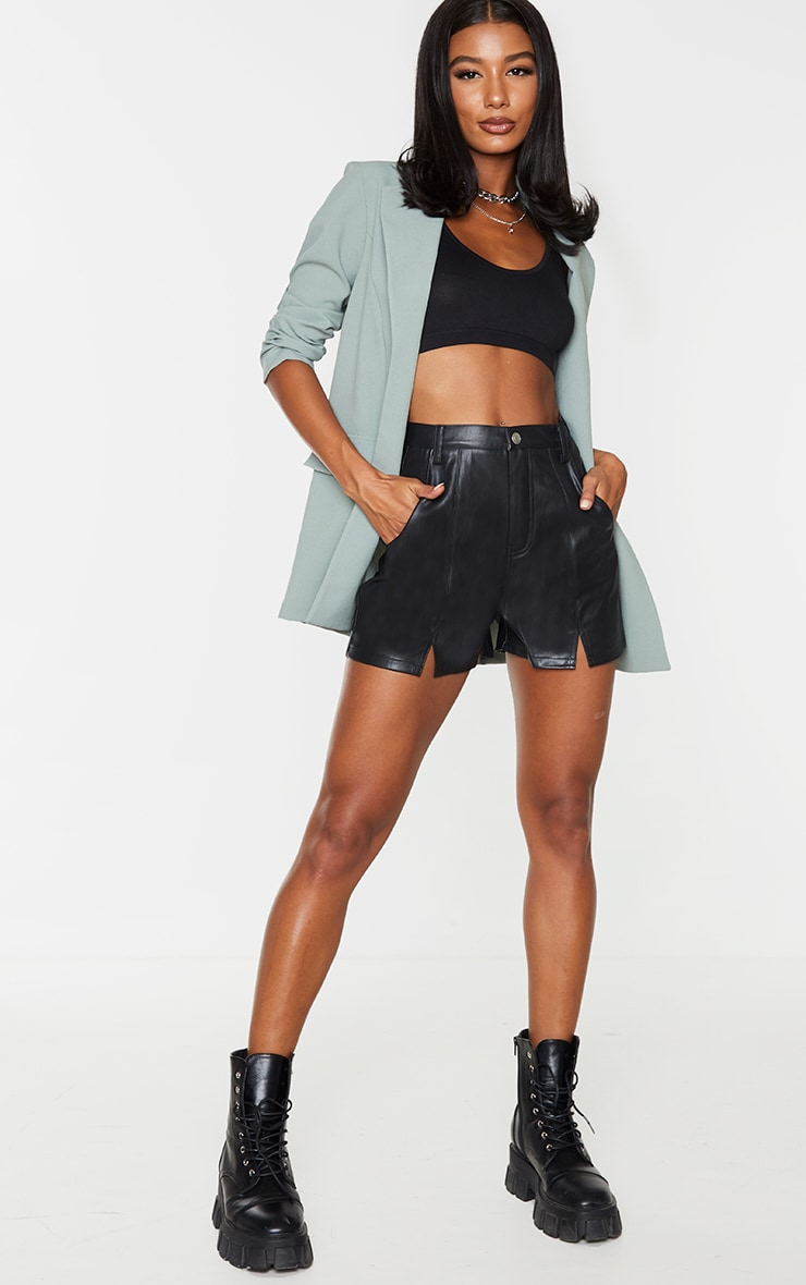 Black Seam Detail Faux Leather Shorts 1