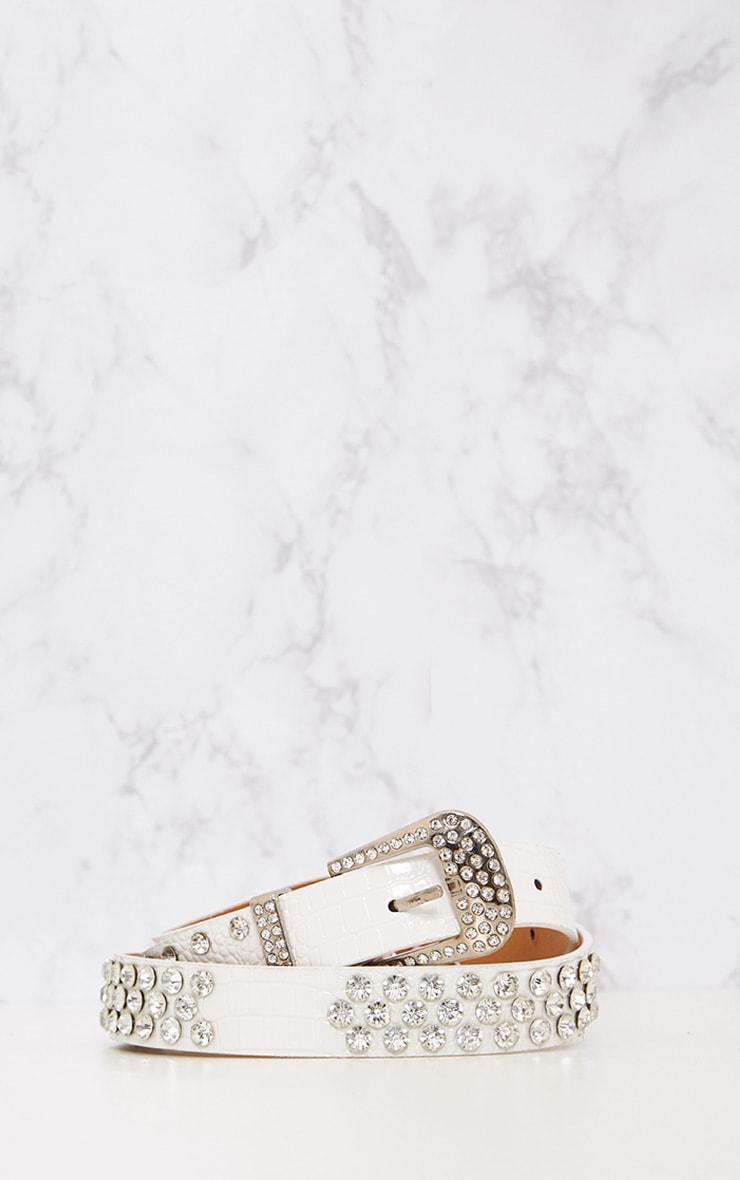 White Diamante Studded Belt 4