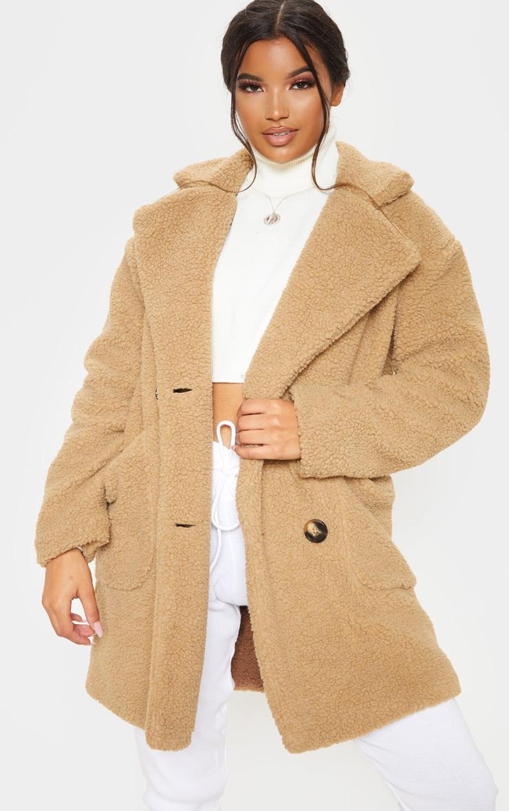 Manteau mi-long en imitation peau de mouton camel 1