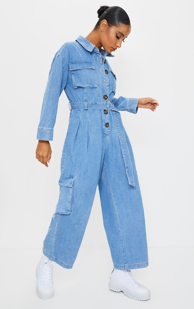 Mid Wash Oversized Cropped Denim Boilersuit 3