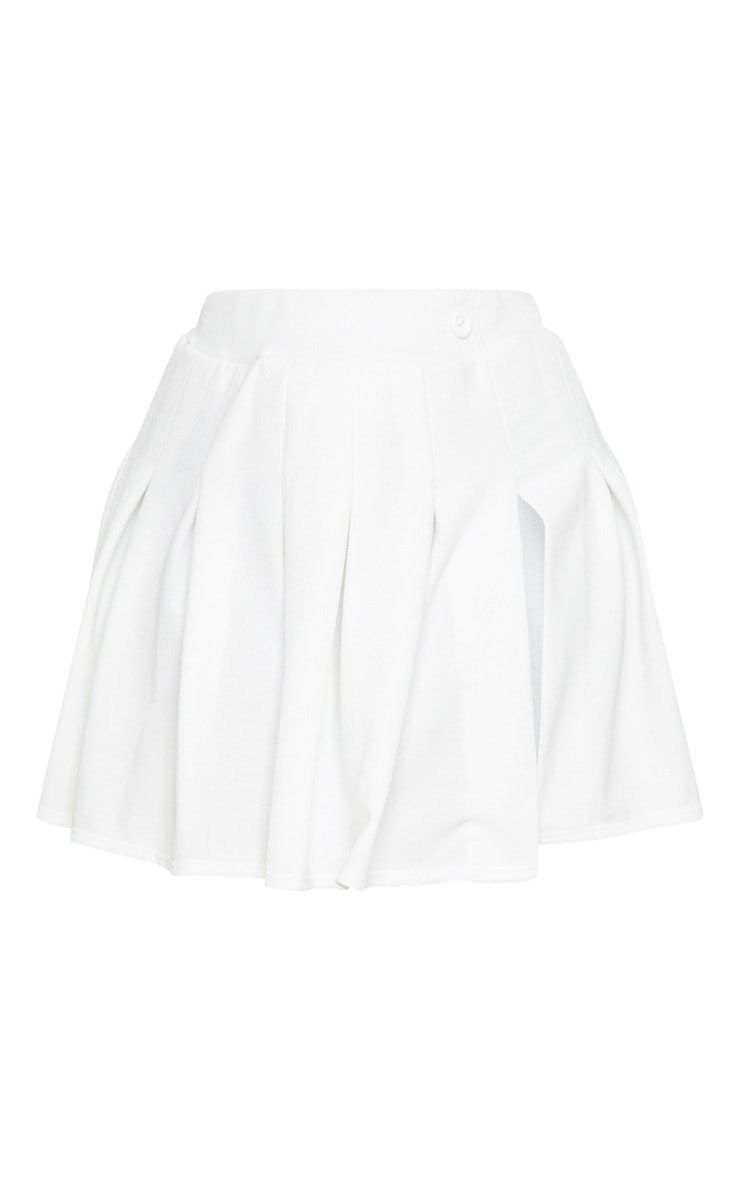 Plus White Pleated Side Split Tennis Skirt 6