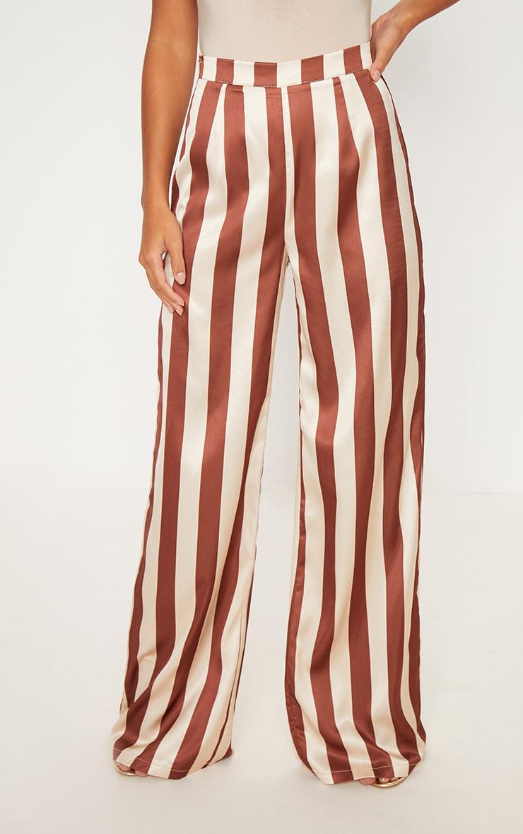 Petite - Pantalon ample à rayures marron 2