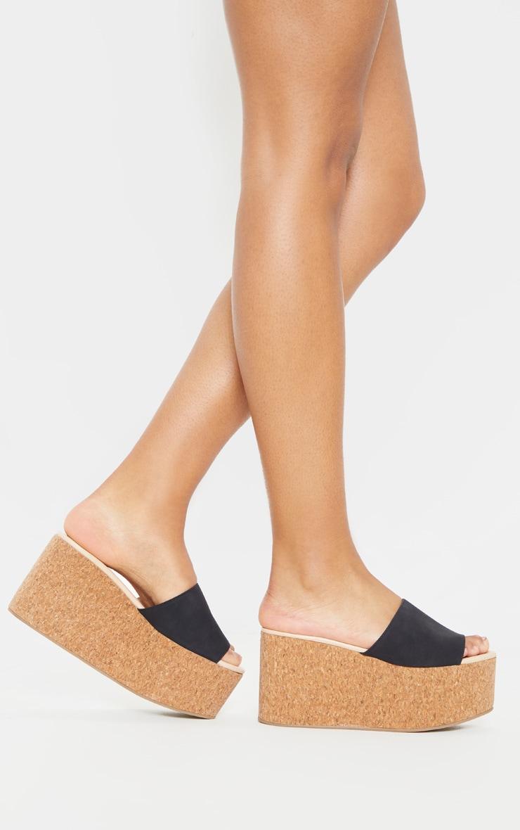 Sandales style espadrilles noires à très grosse semelle  3