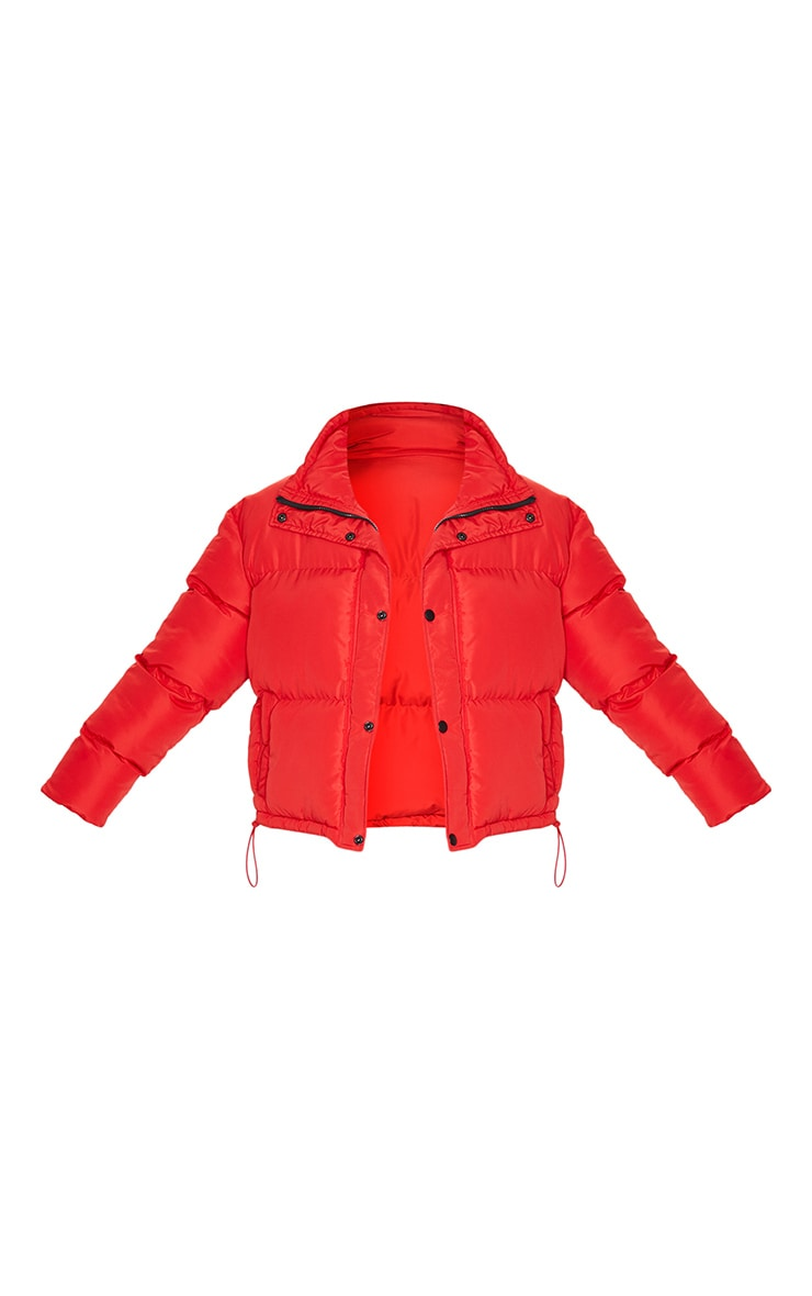 Red Toggle Detail Puffer Jacket 5