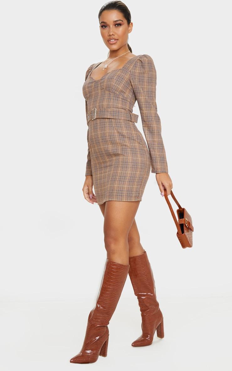 Brown Check Print Belt Detail Long Sleeve Shift Dress 4