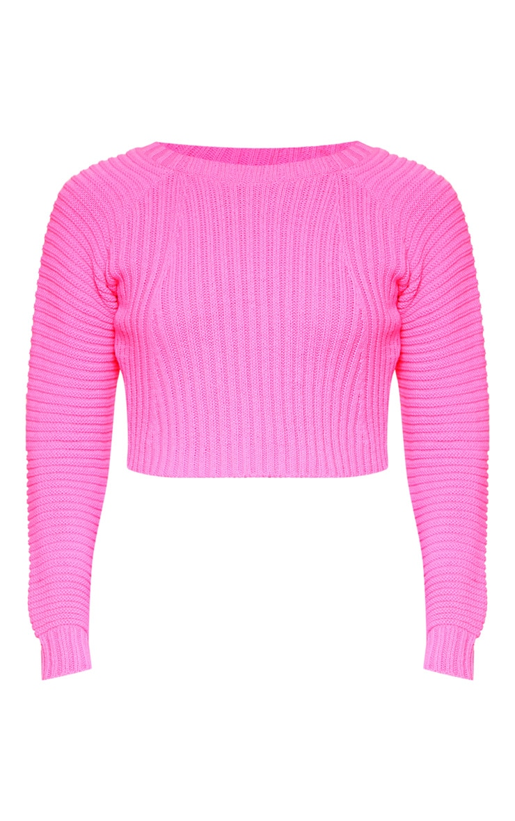 Neon Pink Cropped Rib Knit Sweater 3