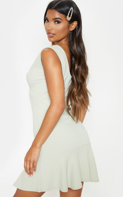 Sage Green Plunge Frill Hem Bodycon Dress