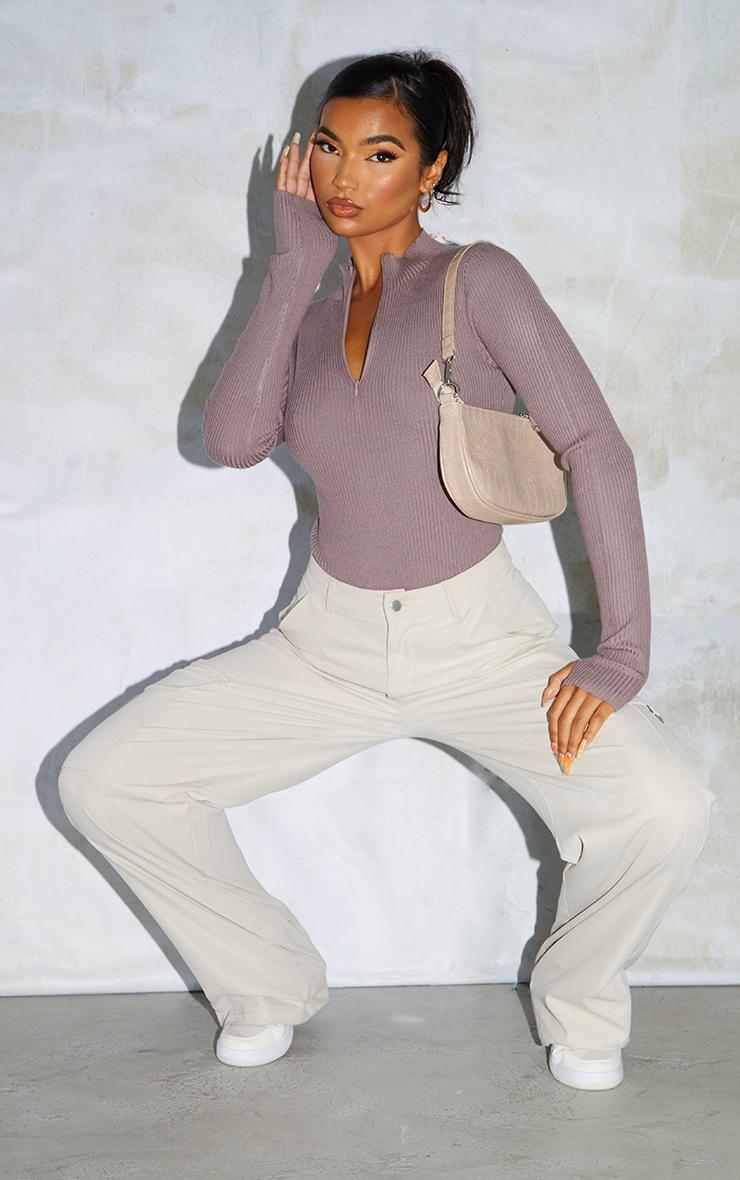 Mauve Half Zip Knitted Bodysuit 3