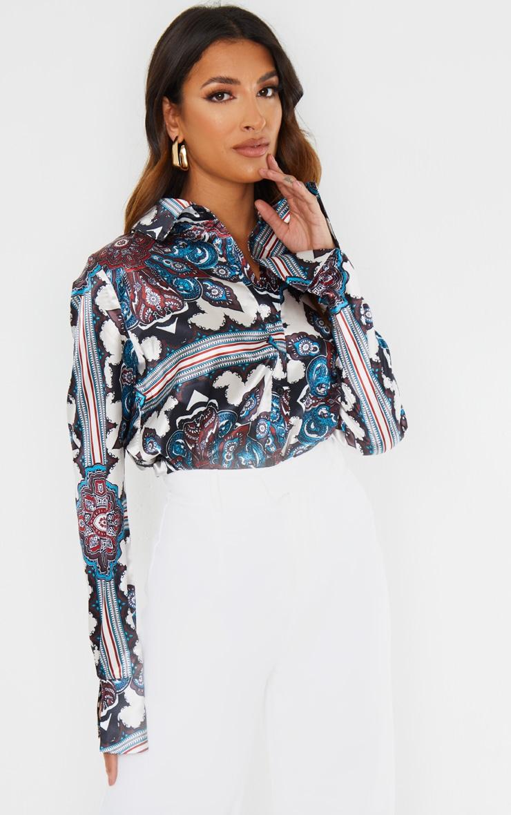 Blue Paisley Print Flare Cuff Shirt 1