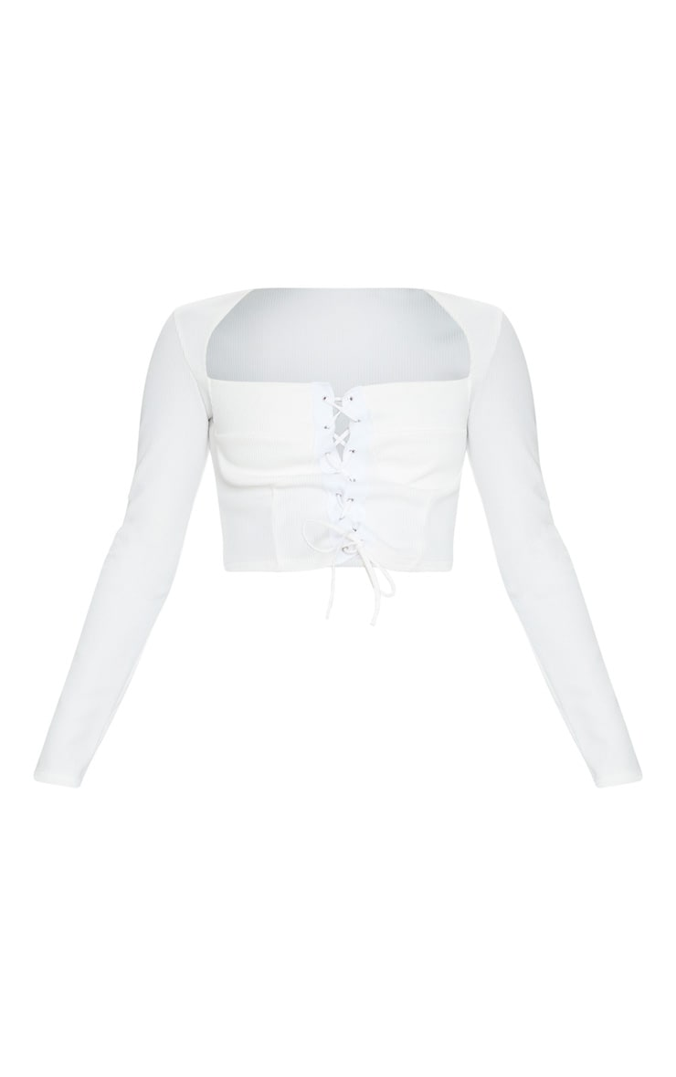 White Structured Rib Lace Up Top 5