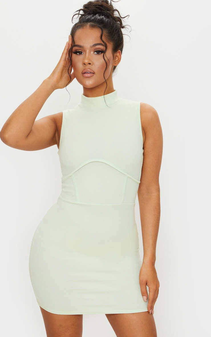 Pale Lime High Neck Sleeveless Underbust Detail Bodycon Dress 1