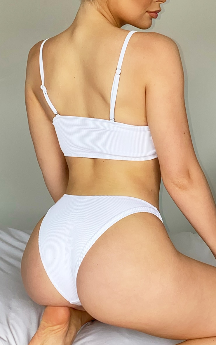 White High Leg Bikini Bottoms 3