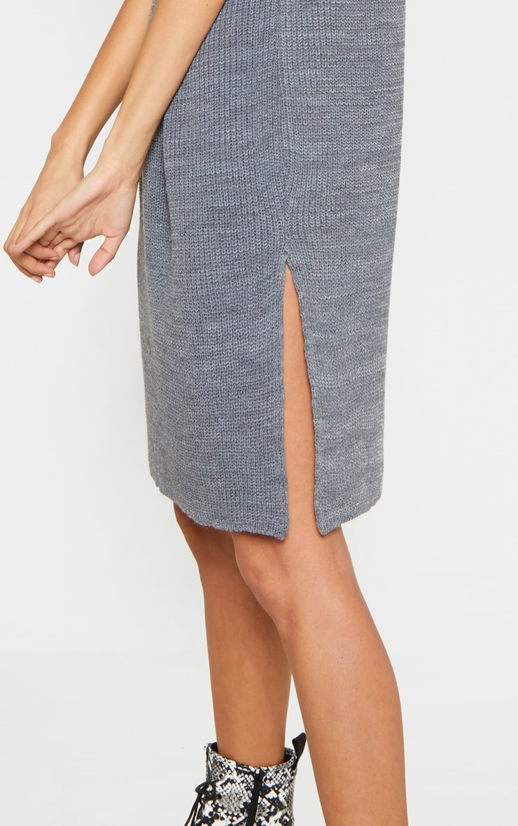 Charcoal Knitted Sleeveless Jumper Dress 4