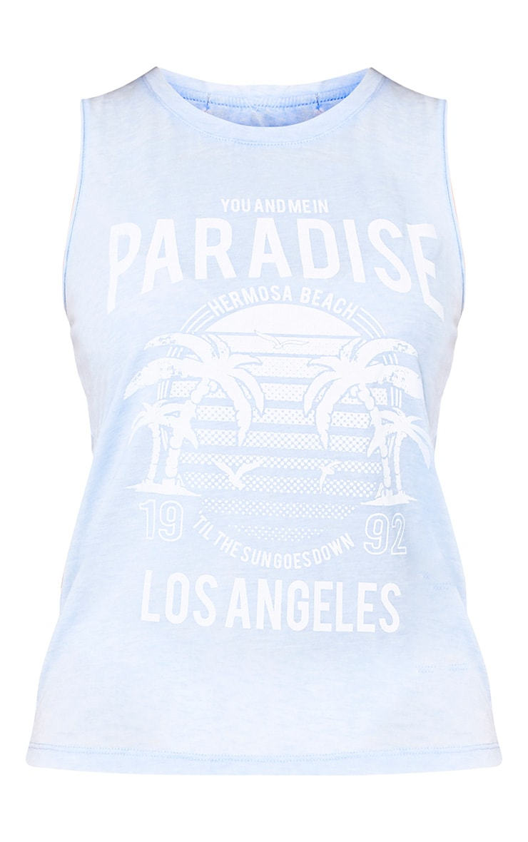 Sky Blue Paradise Slogan Beach Tank Top 3