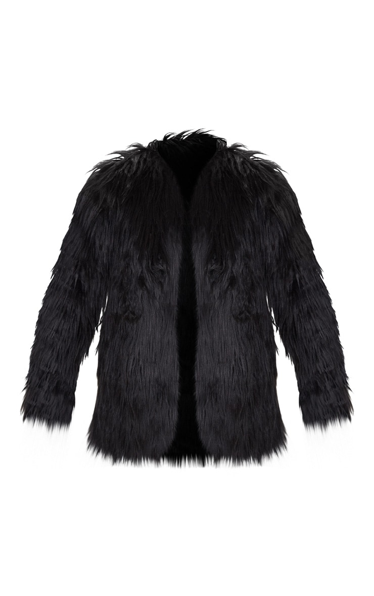 Amaria Black Shaggy Faux Fur Jacket 3