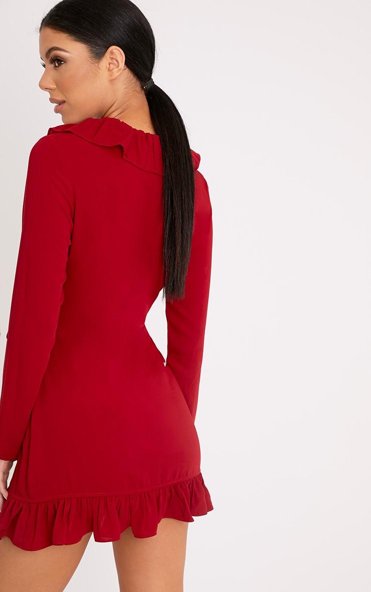 Neeko Red Frill Wrap Shift Dress 2