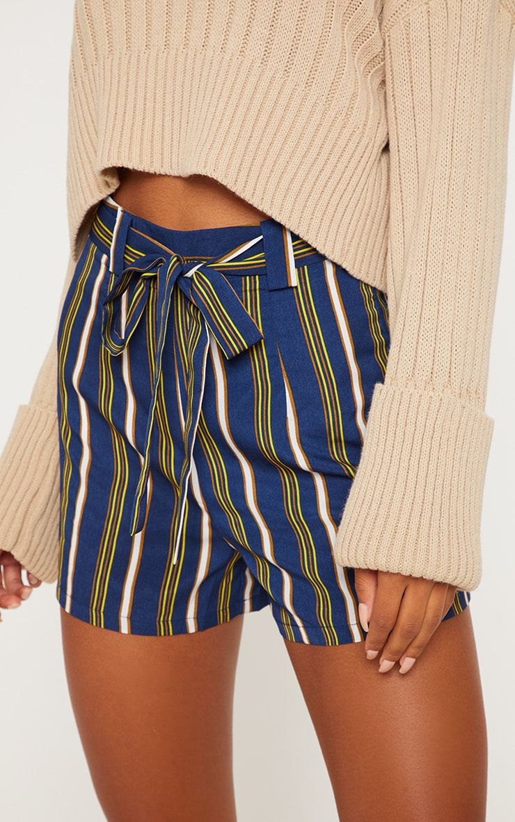 Navy Stripe Tie Waist Short 5
