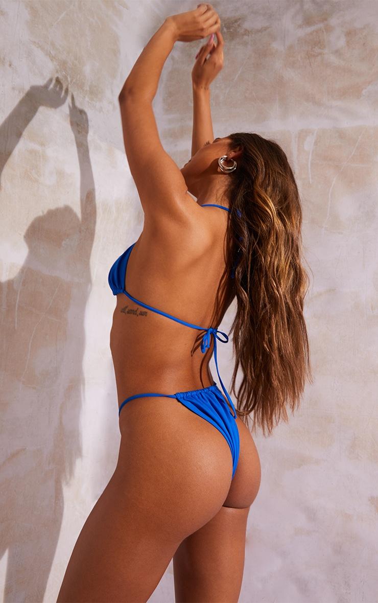 Bright Blue Recycled Fabric Mix & Match Mini Triangle Bikini Top 2
